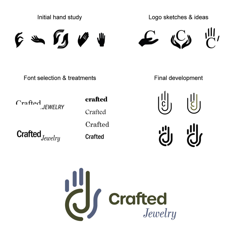 Development stages of logo design for Crafted Jewelry