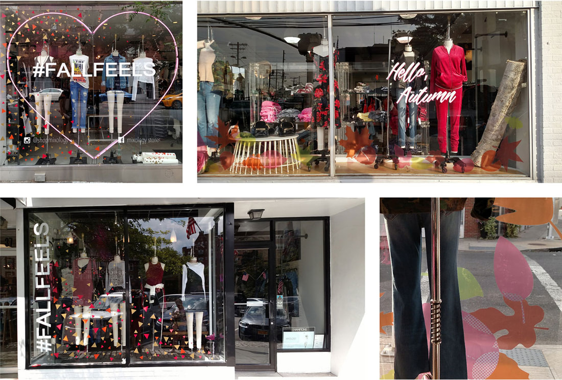 Two years' fall window displays designed and installed in several retail locations